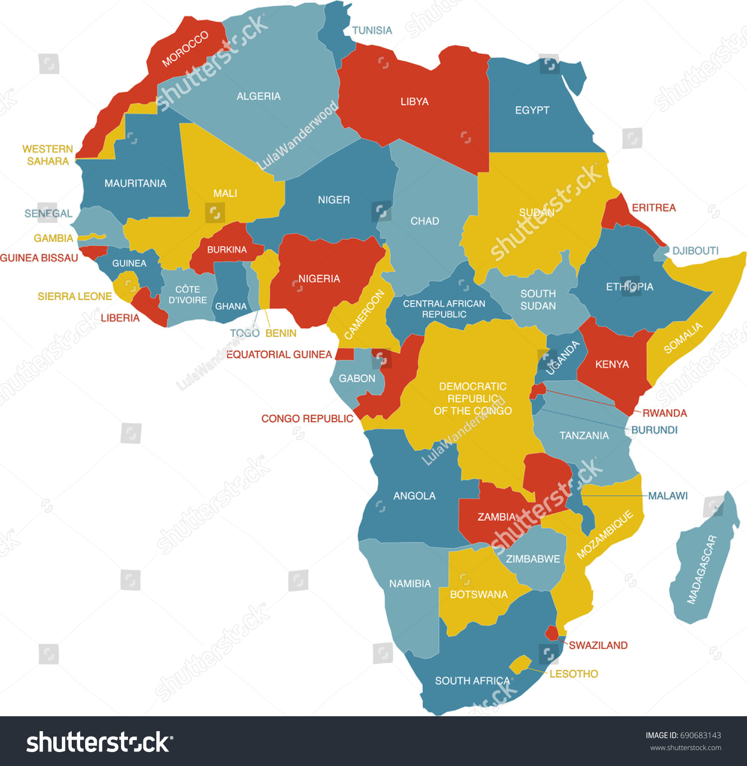 Labeled Map Africa Stock Vector HD (Royalty Free) 690683143
