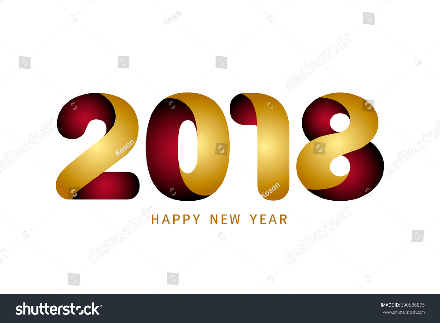happy new year 2018 text design modern golden and red text design on white background