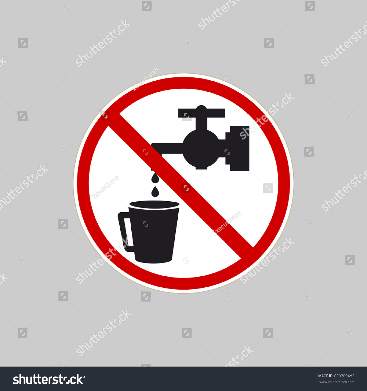 No Water Icon Water Faucet Crossed Stock Vector 690709483 ...