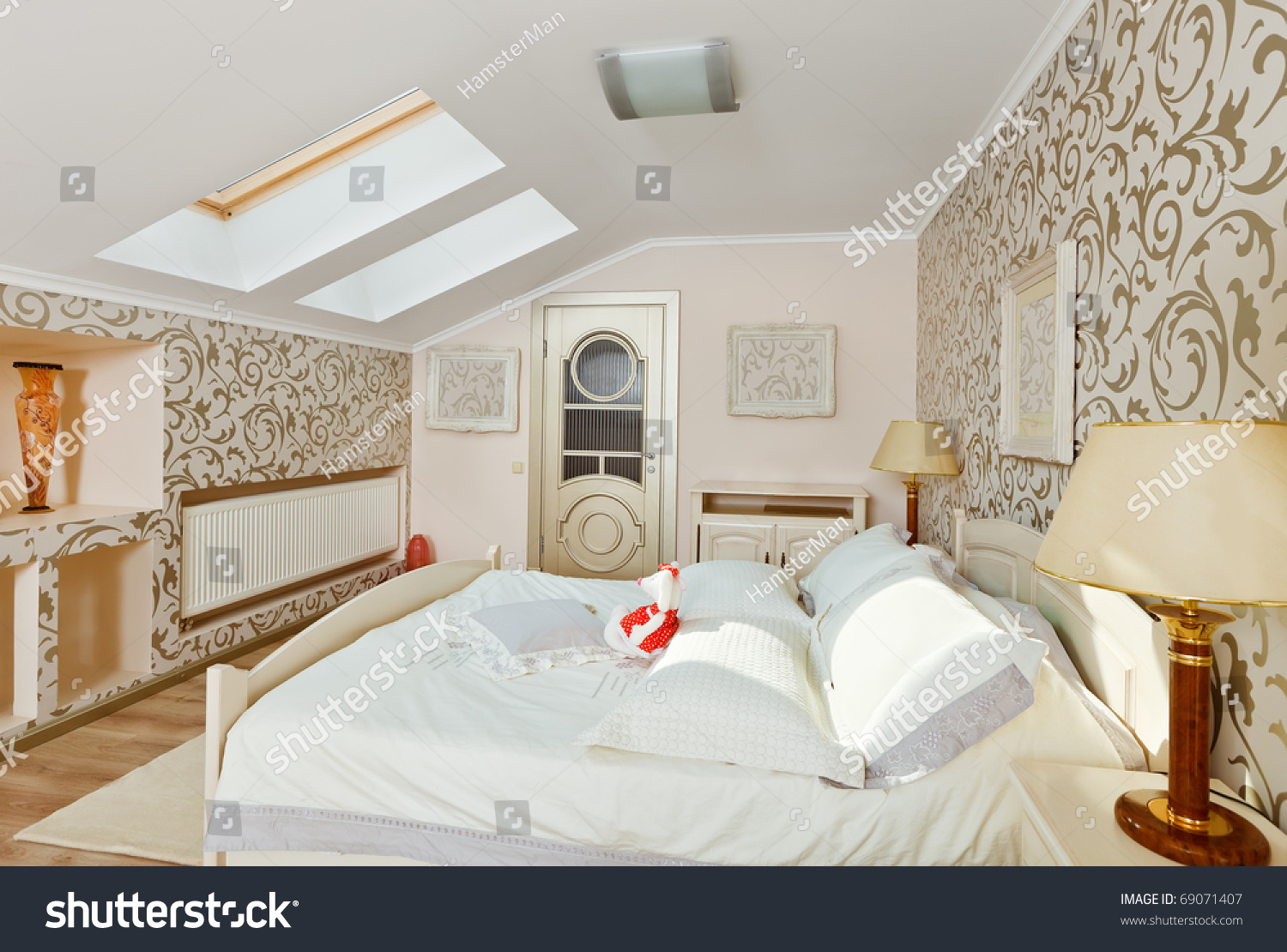 modern art deco style bedroom interior in light beige colors on loft room stock photo 69071407. Black Bedroom Furniture Sets. Home Design Ideas