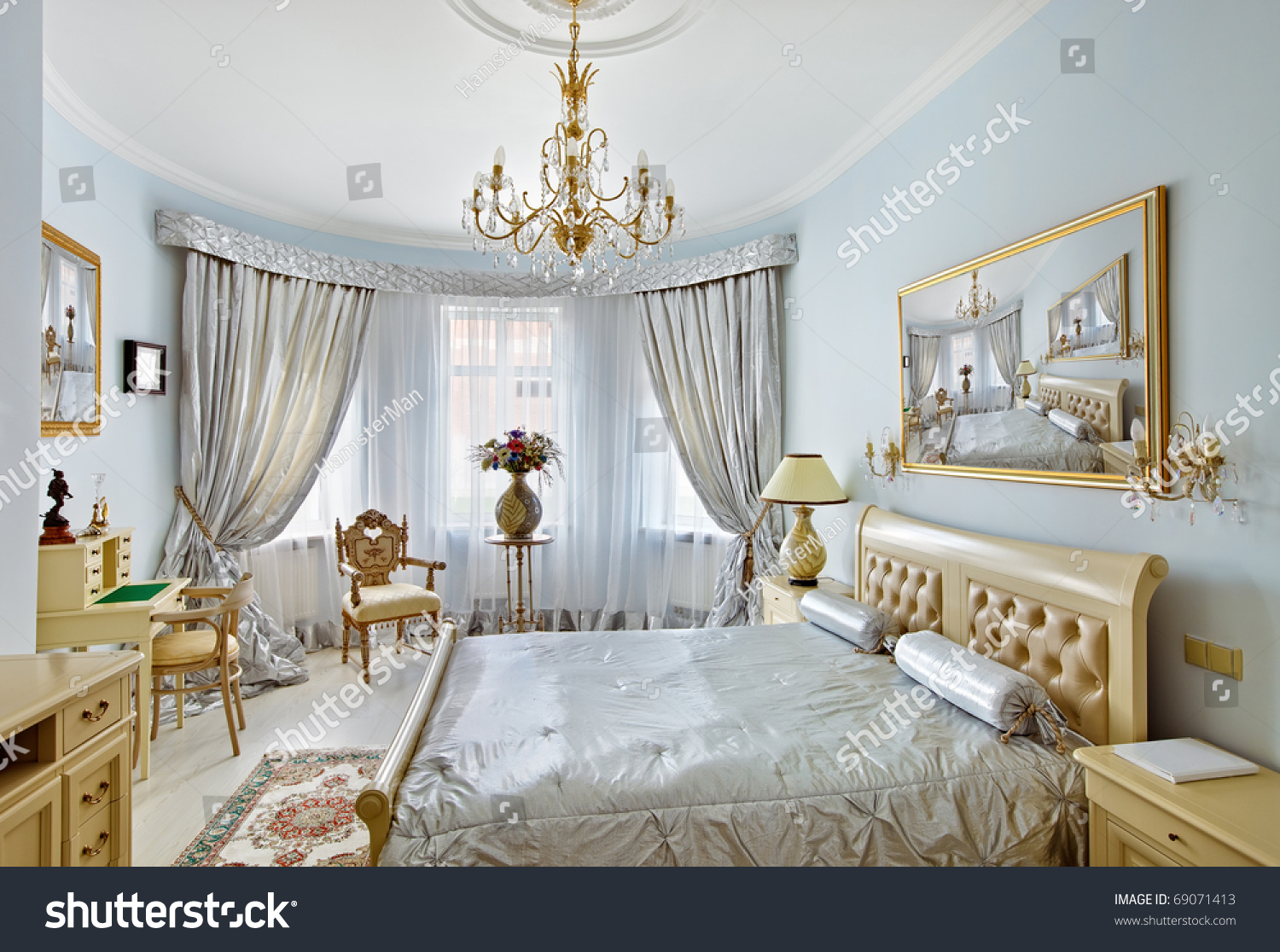 Luxury Bedroom Interior Classic Style Luxury Bedroom Interior Blue Stock Photo 69071413