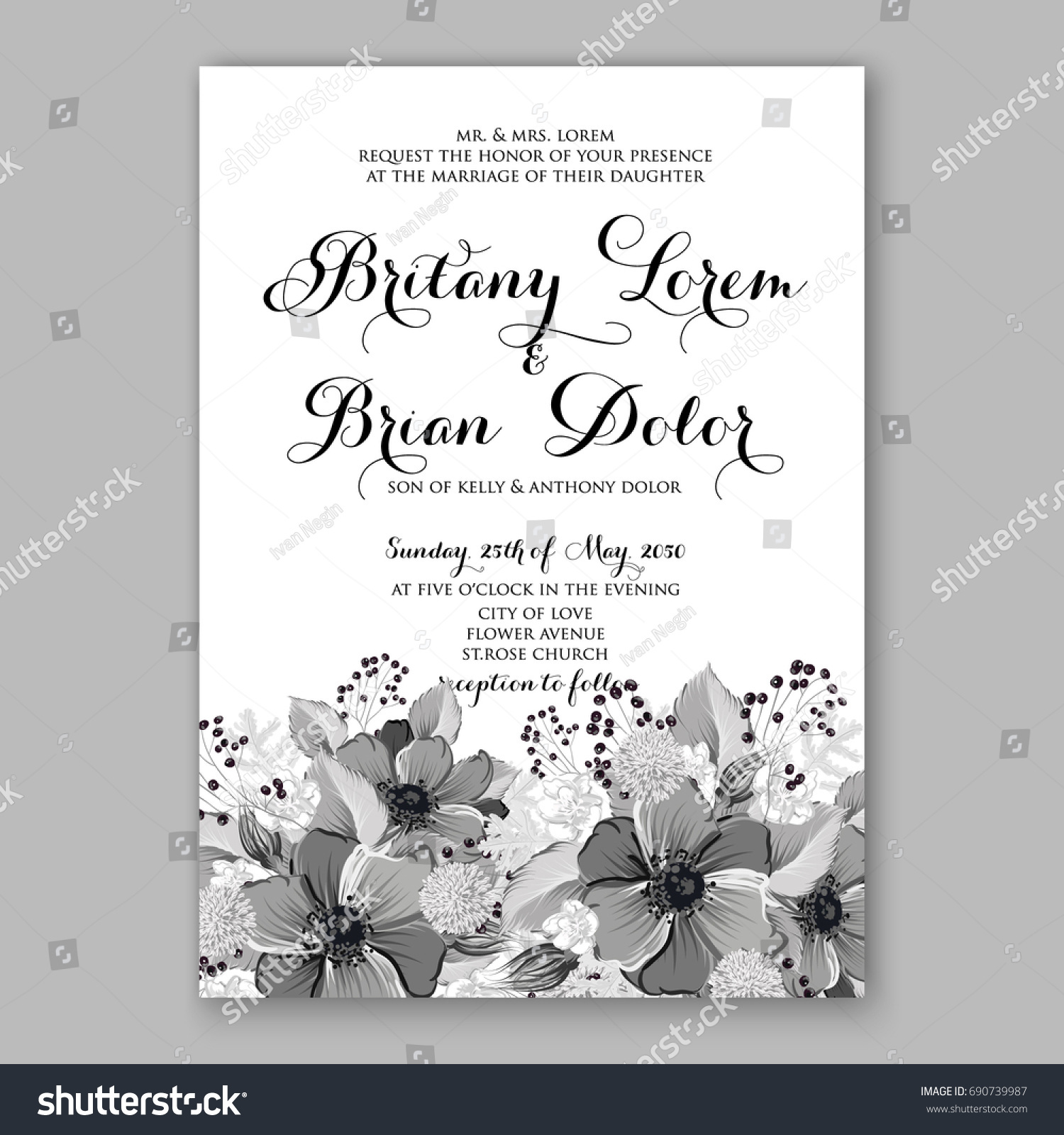 Anemone Rose Wedding Invitation Card Template Stock Vector HD ...
