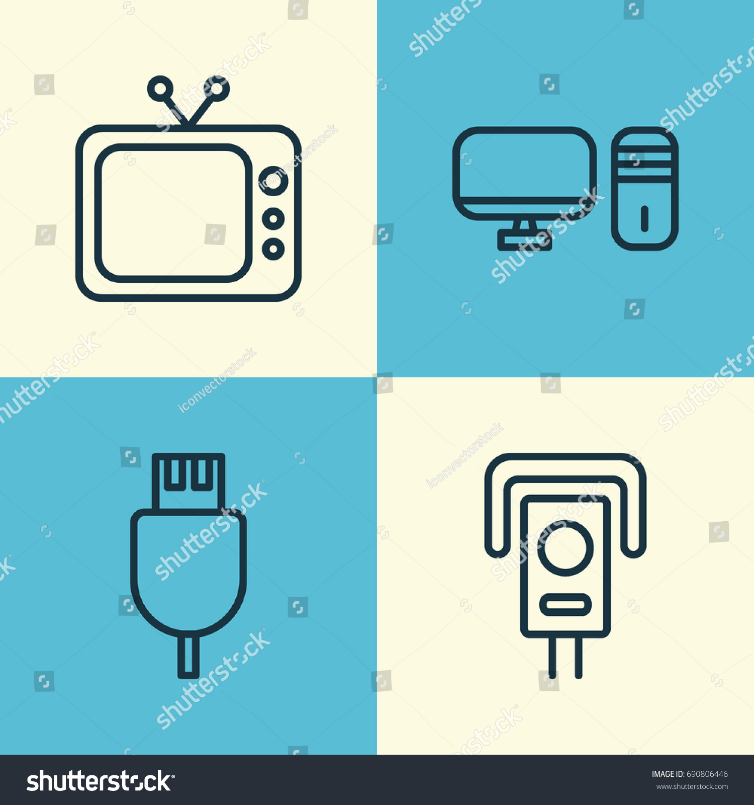 Icons Set Collection Universal Serial Bus Stock Vector Royalty Free Diagram Computer Of Personal Television And Other Elements