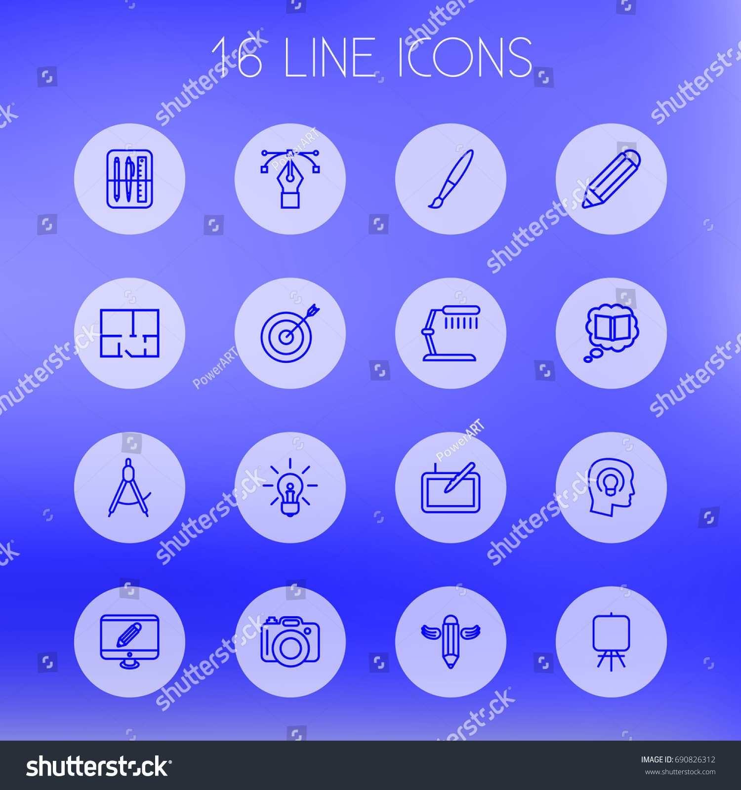 Set 16 constructive outline icons setcollection stock vector set of 16 constructive outline icons setllection of table lamp drawing tools geotapseo Gallery