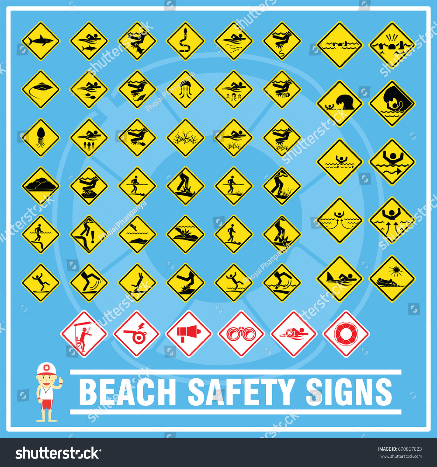 Set signs symbols beach safety warning stock vector 690867823 set of signs and symbols of beach safety warning safety signs for use as beach buycottarizona Choice Image