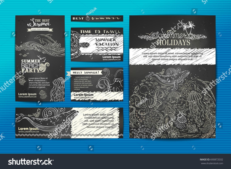 Vector Set Wild Ocean Animals Templates Stock Vector 690872032 ...