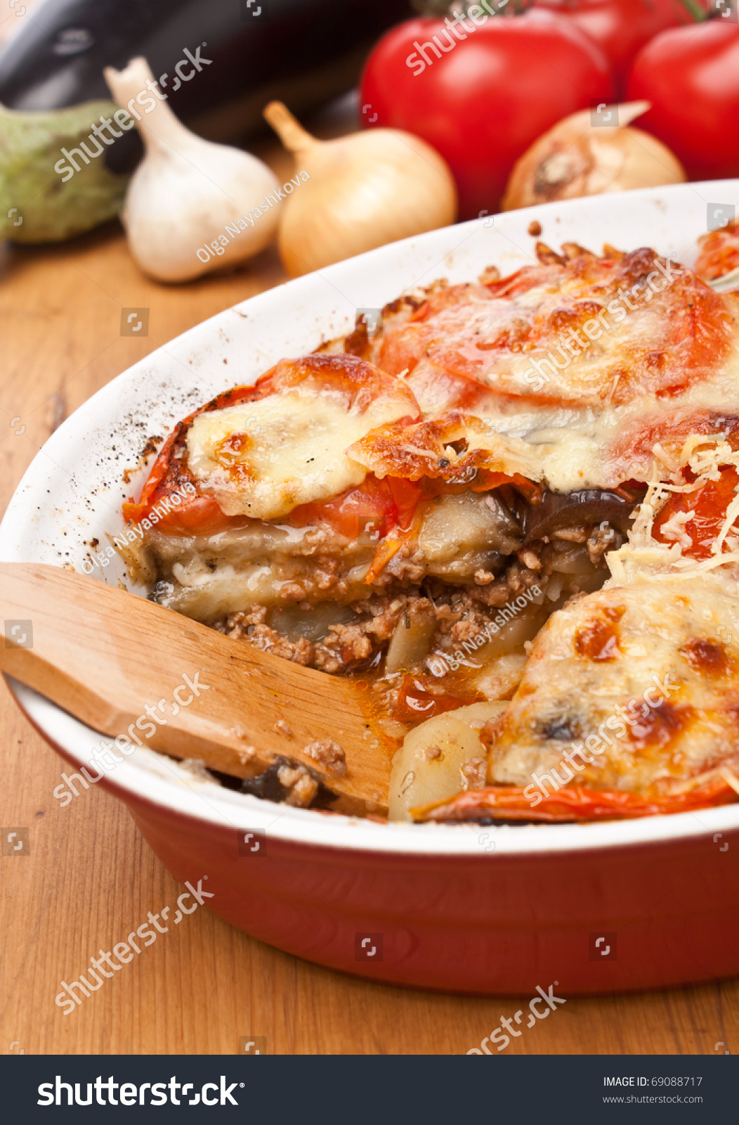 Casserole Dish With Classic Greek Moussaka With Eggplant ...