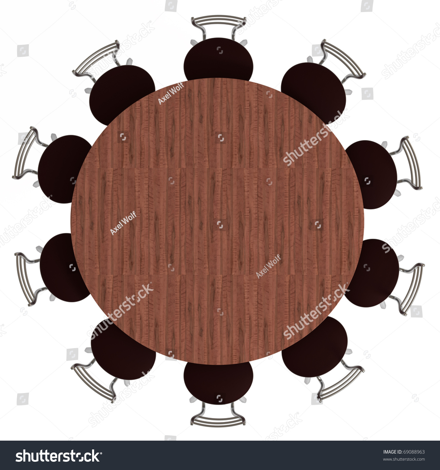 Table and chairs top view - Round Table And Chairs Top View Isolated On White With Clipping Path