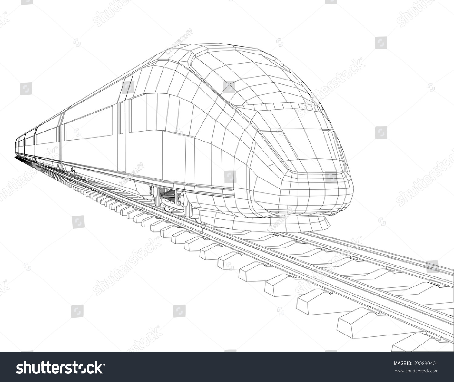 High Speed Train Motion Vector Rendering Stock Royalty Free Velocity Roller Coaster Diagram Download Wiring In Of 3d Wire Frame Style