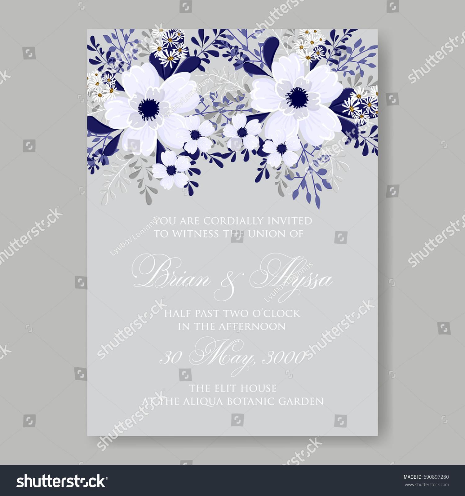Poinsettia Peony Anemone Wedding Invitation Template Stock Vector HD ...