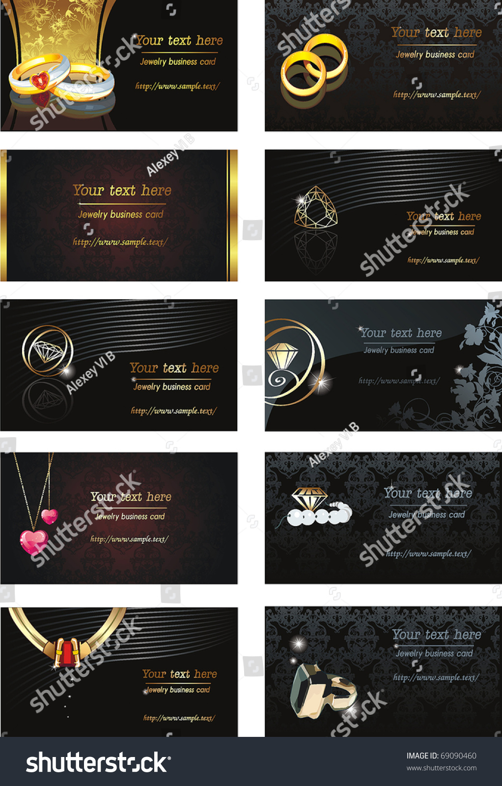 Vector Illustration Business Card Jewelry Beauty Stock Vector ...