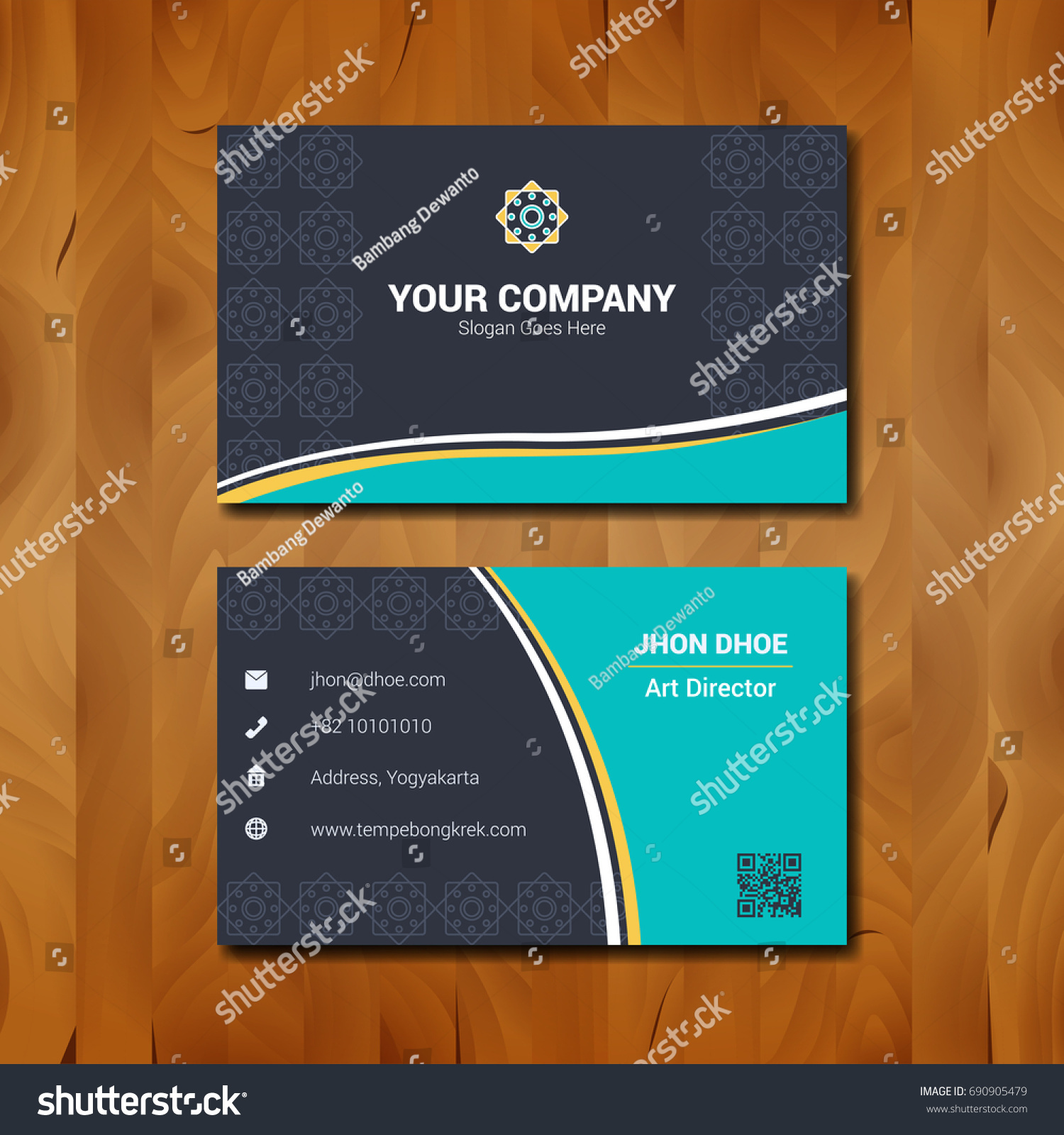 Simple Business Card Template Design Company Stock Vector 690905479 ...