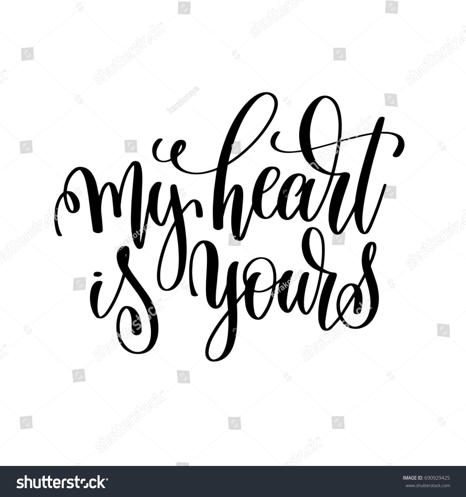 My Heart Yours Hand Lettering Romantic Stock Vector Royalty Free