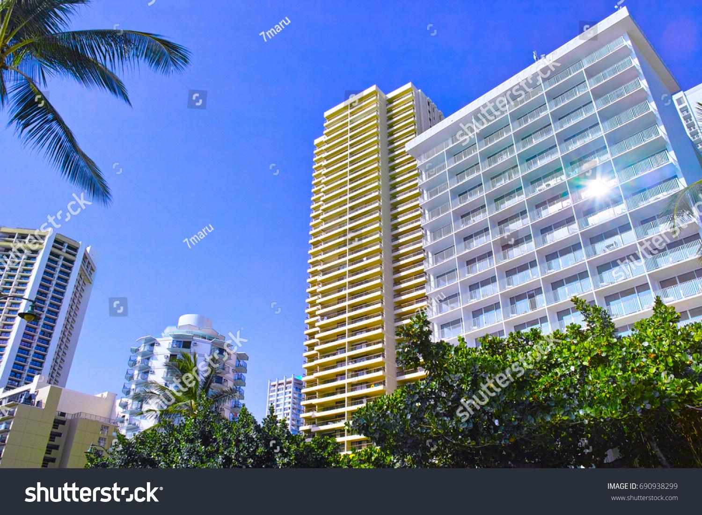 Hawaii Hotels Waikiki Beach Stock Photo Edit Now 690938299