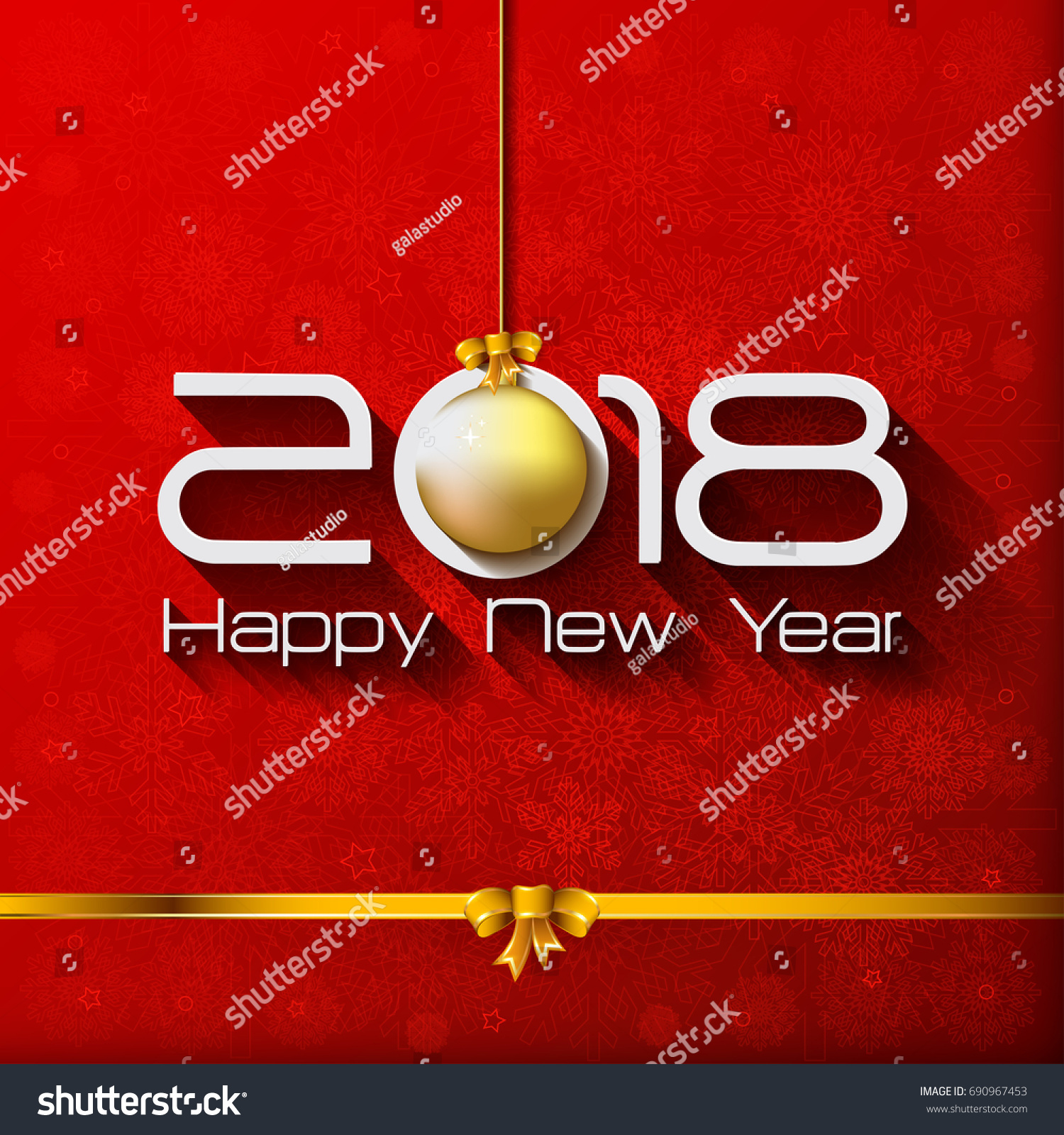 2018 happy new year gift greeting card with gold christmas ball vector illustration