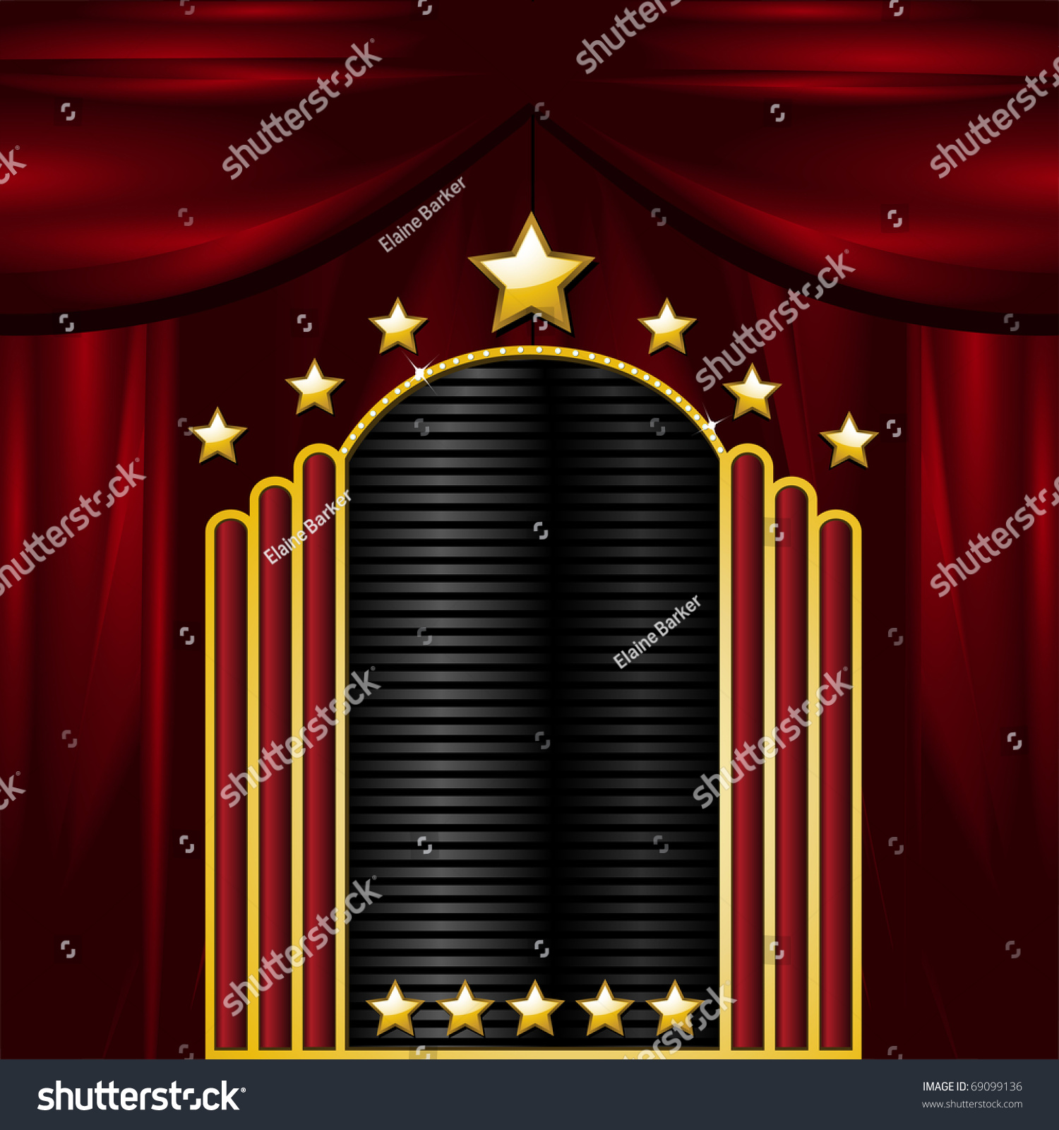 Black theatre curtain - Black And Gold Theatre Sign On A Red Curtain Background