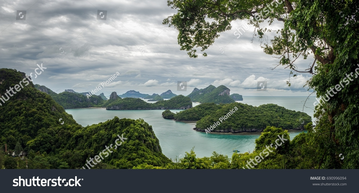 Panorama group islands nature picture frame stock photo 690996094 panorama of group of islands with nature picture frame from ko wua ta lap first jeuxipadfo Gallery