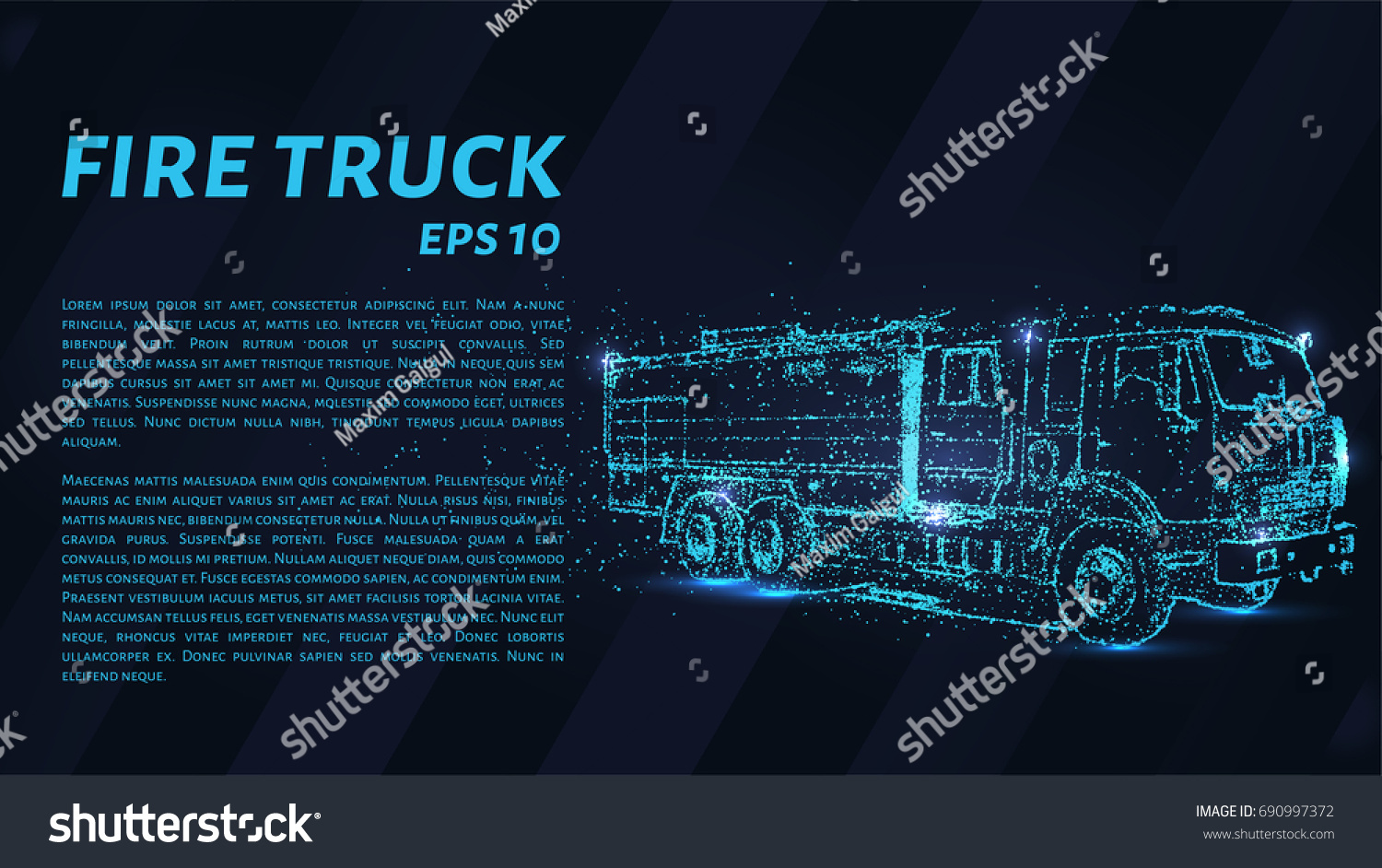 Fire Truck Consists Points Particles Form Stock Vector Royalty Free Engine Diagram Of In The A On