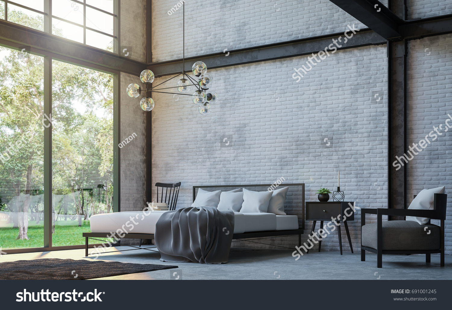 Loft Style Bedroom 3d Rendering Image.There Are White Brick Wall,polished  Concrete Floor
