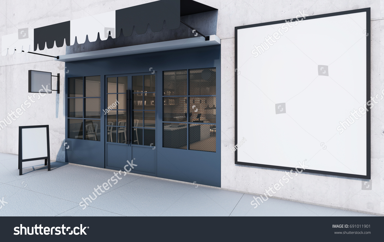 Front View Cafe Shop Restaurant Design Stock Illustration ...