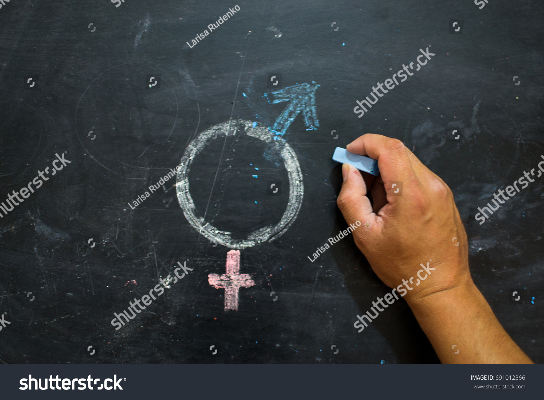 Gender symbols signs male female sex stock photo 691012366 gender symbols or signs for the male and female sex drawn on a blackboard biocorpaavc