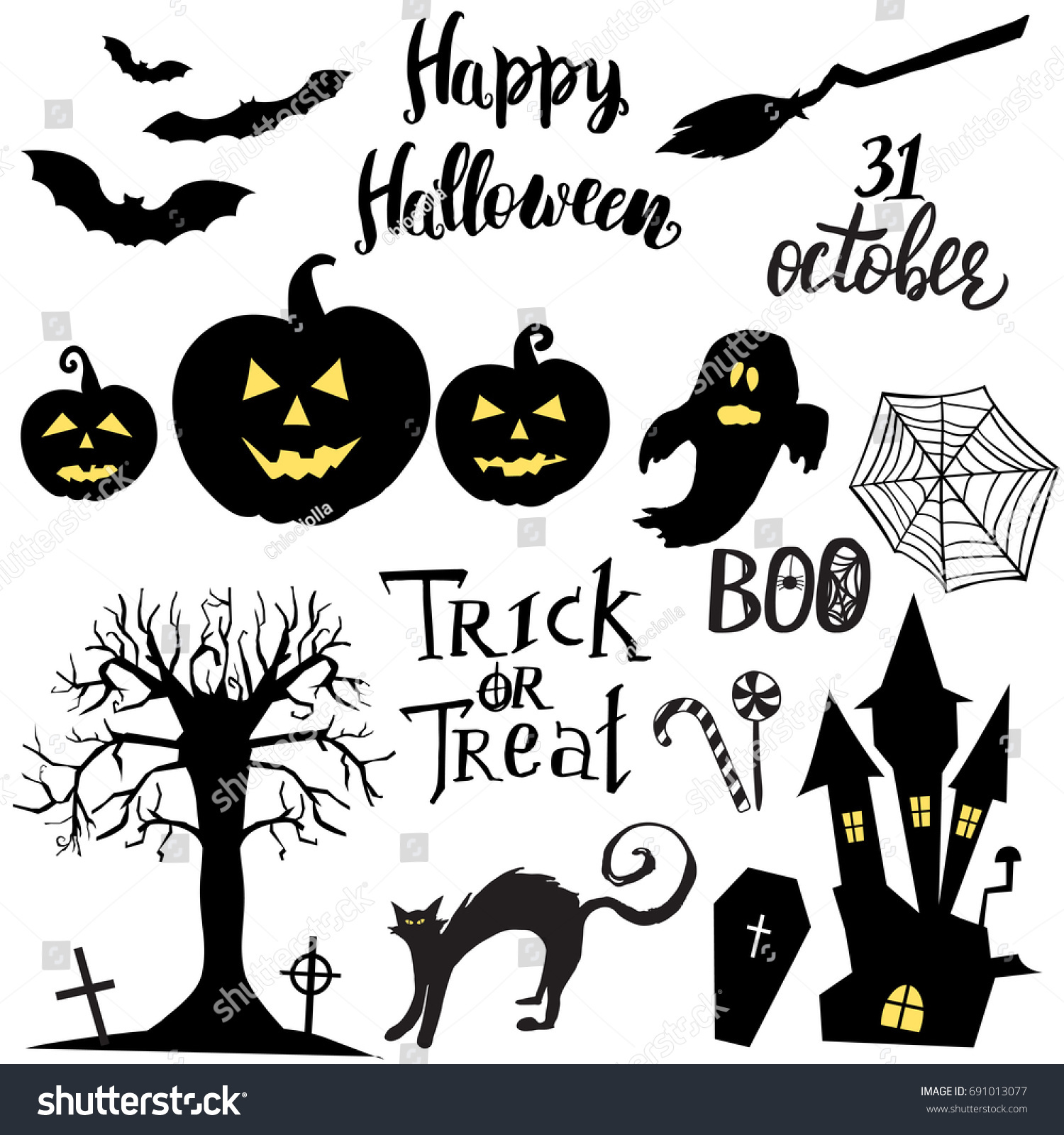 set halloween elements symbols quotes stock vector (royalty free