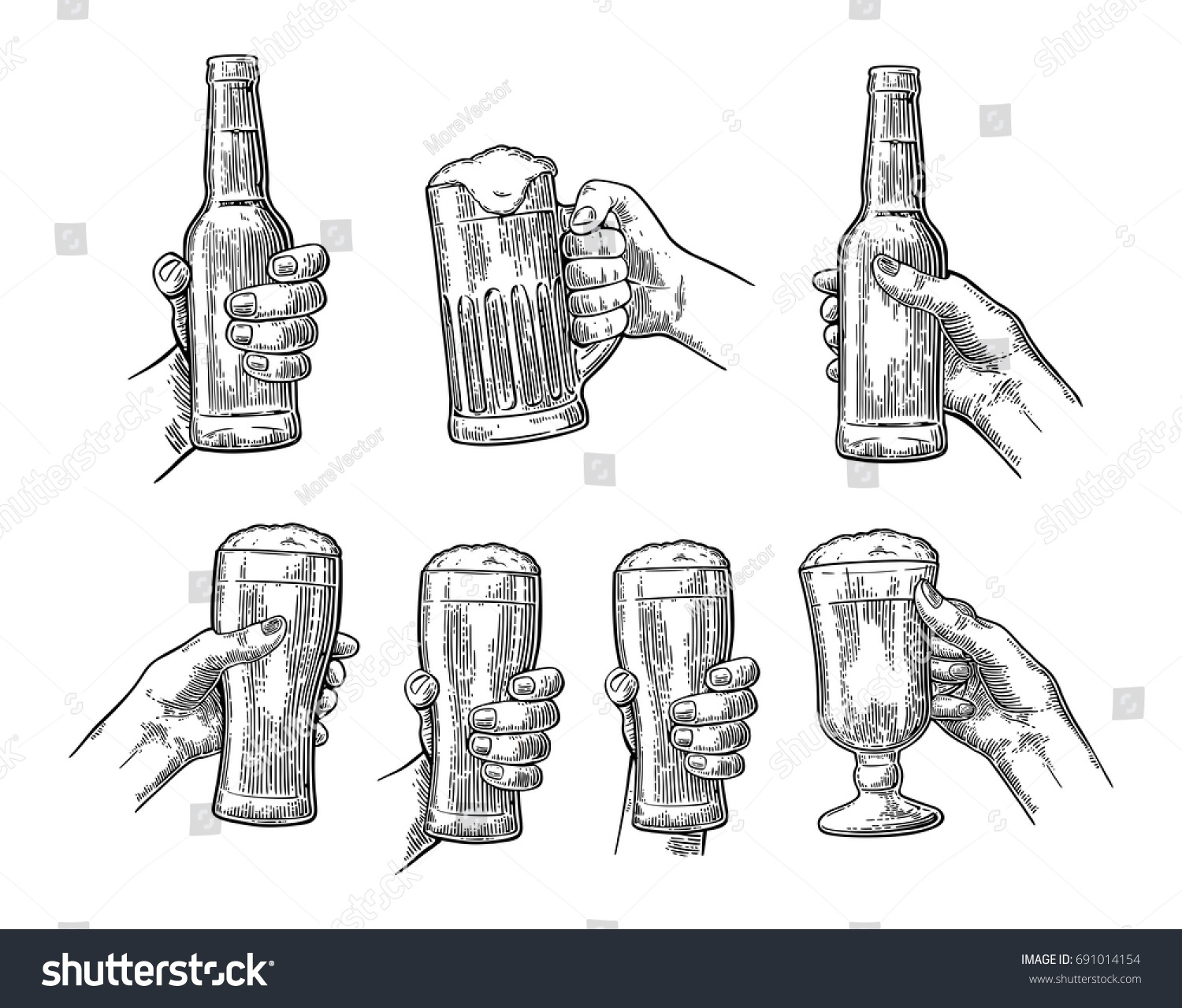 Man woman hands holding clinking beer stock vector 691014154 man and woman hands holding and clinking with beer glass and open beer bottle vintage biocorpaavc Gallery