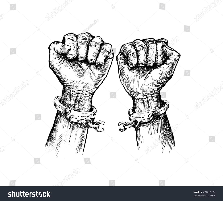 Broken Handcuff Freedom Concept Hand Drawn Sketch Vector Illustration