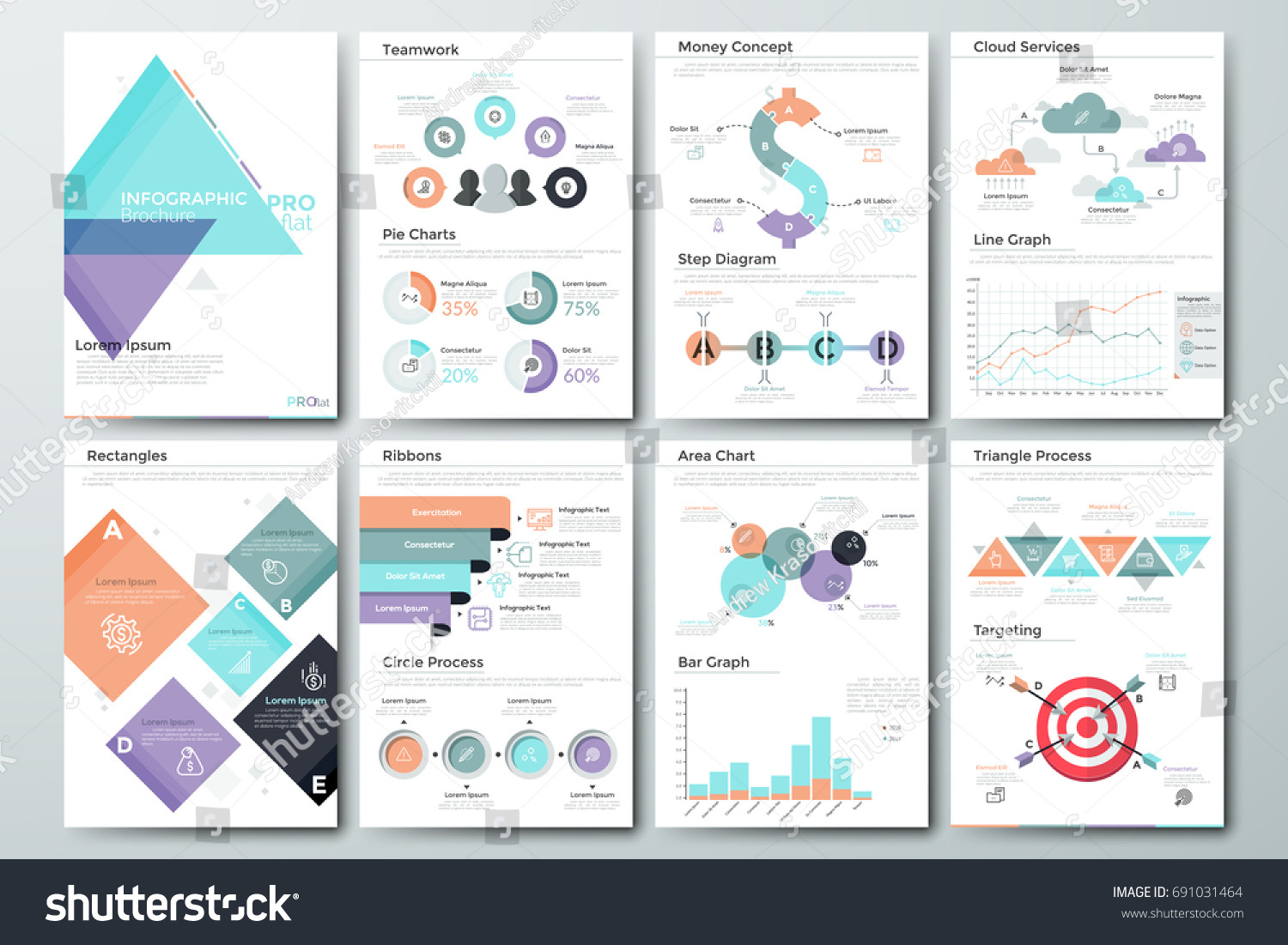 Futuristic Infographic Brochure Template Pages Diagrams Stock - Infographic brochure template