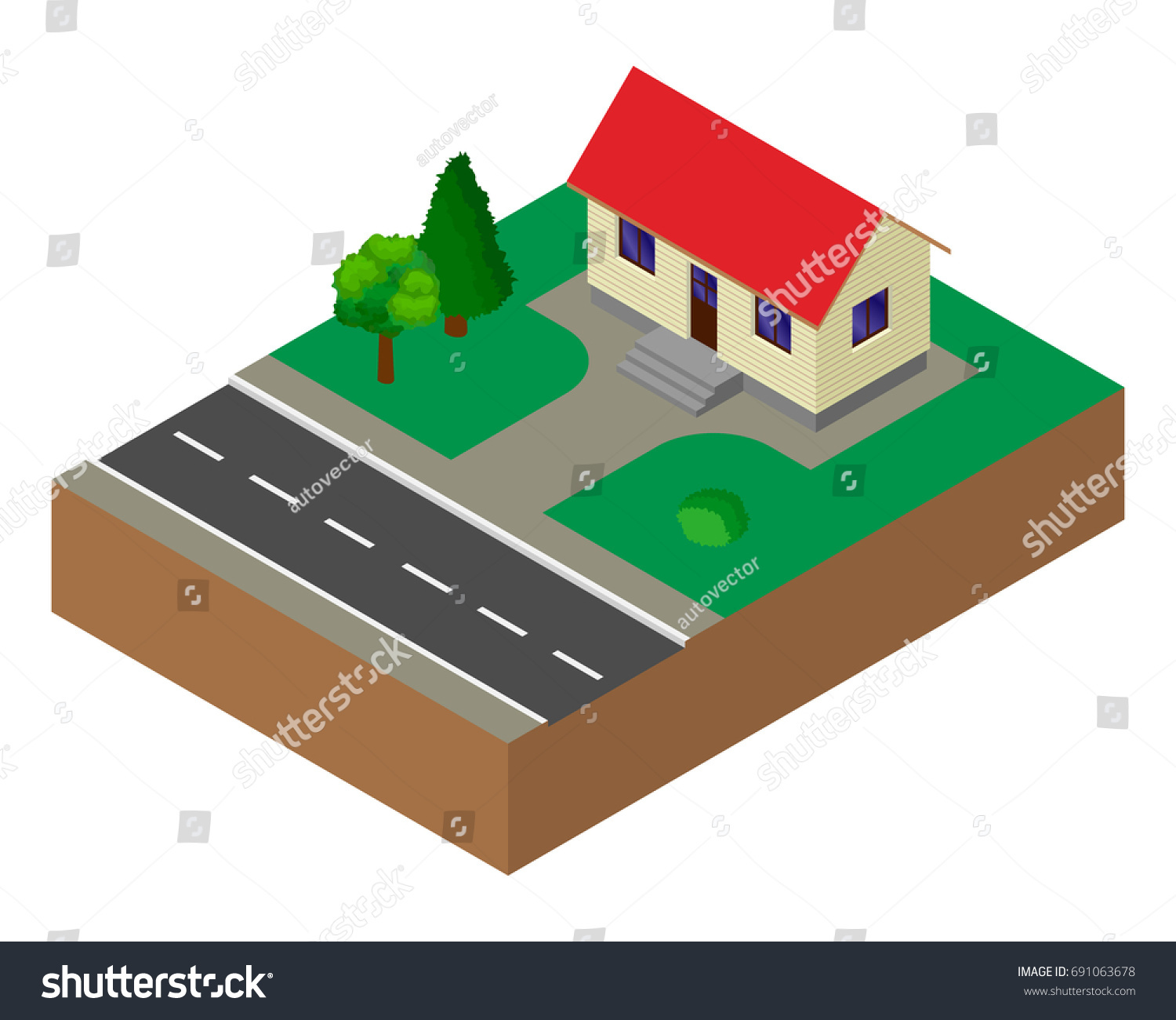 small house building isometric stock vector 691063678