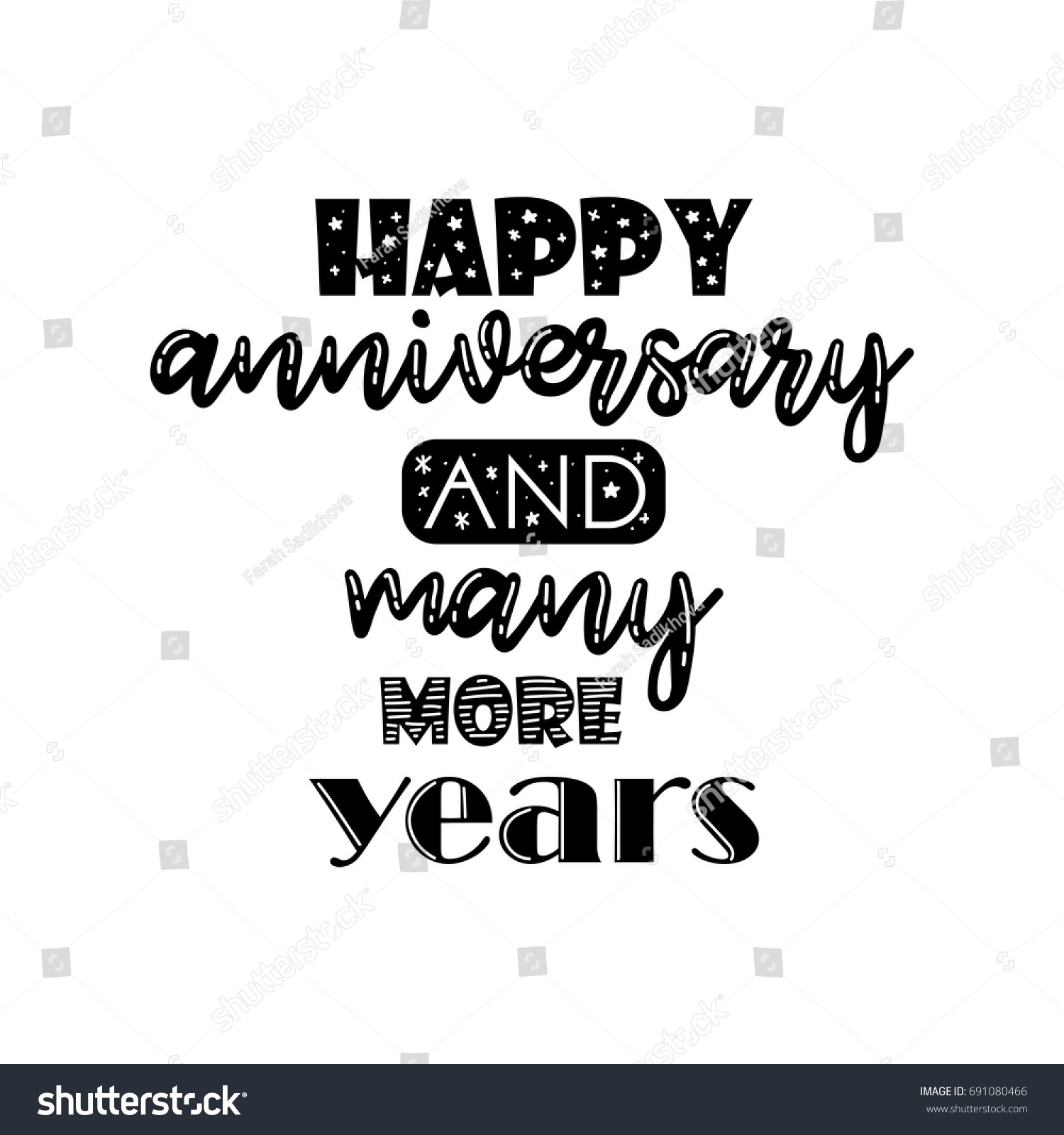 happy anniversary and best wishes hand lettering typography greeting quote vector illustration ez canvas