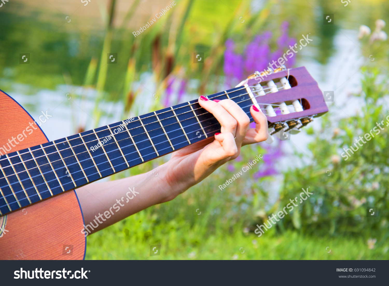 Beautiful Hands Playing Chords On Acoustic Stock Photo Edit Now