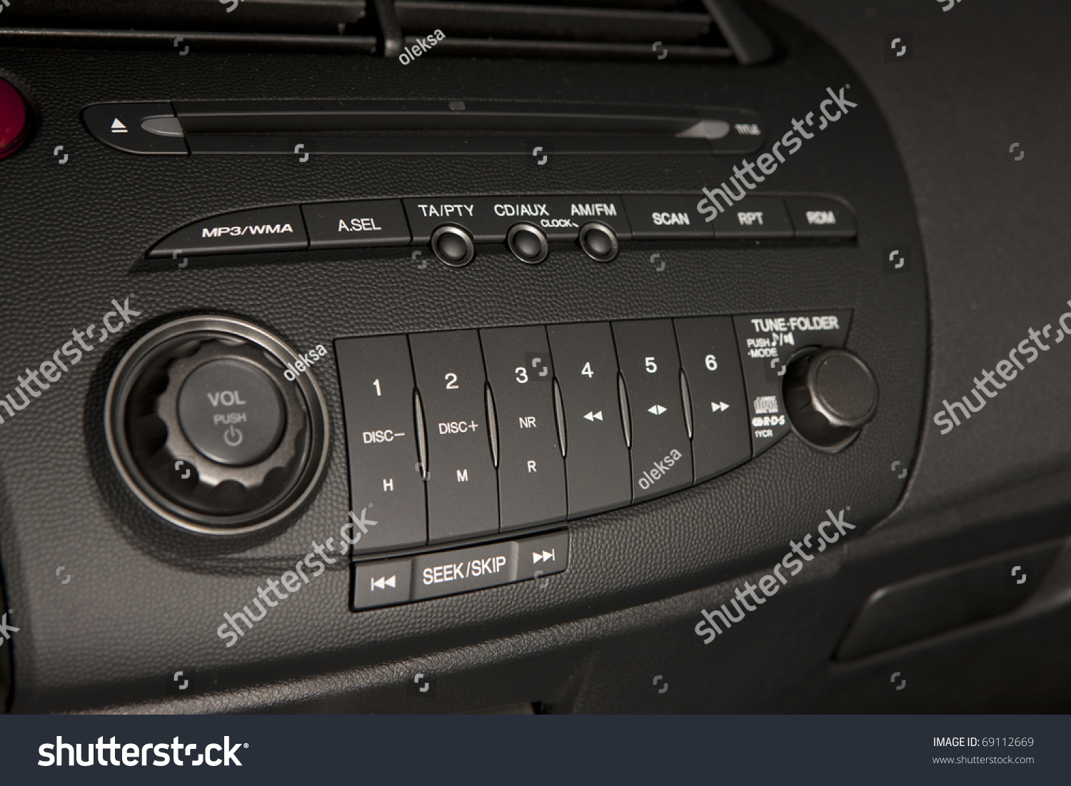 Vehicle Control Panel : New car audio control panel stock photo