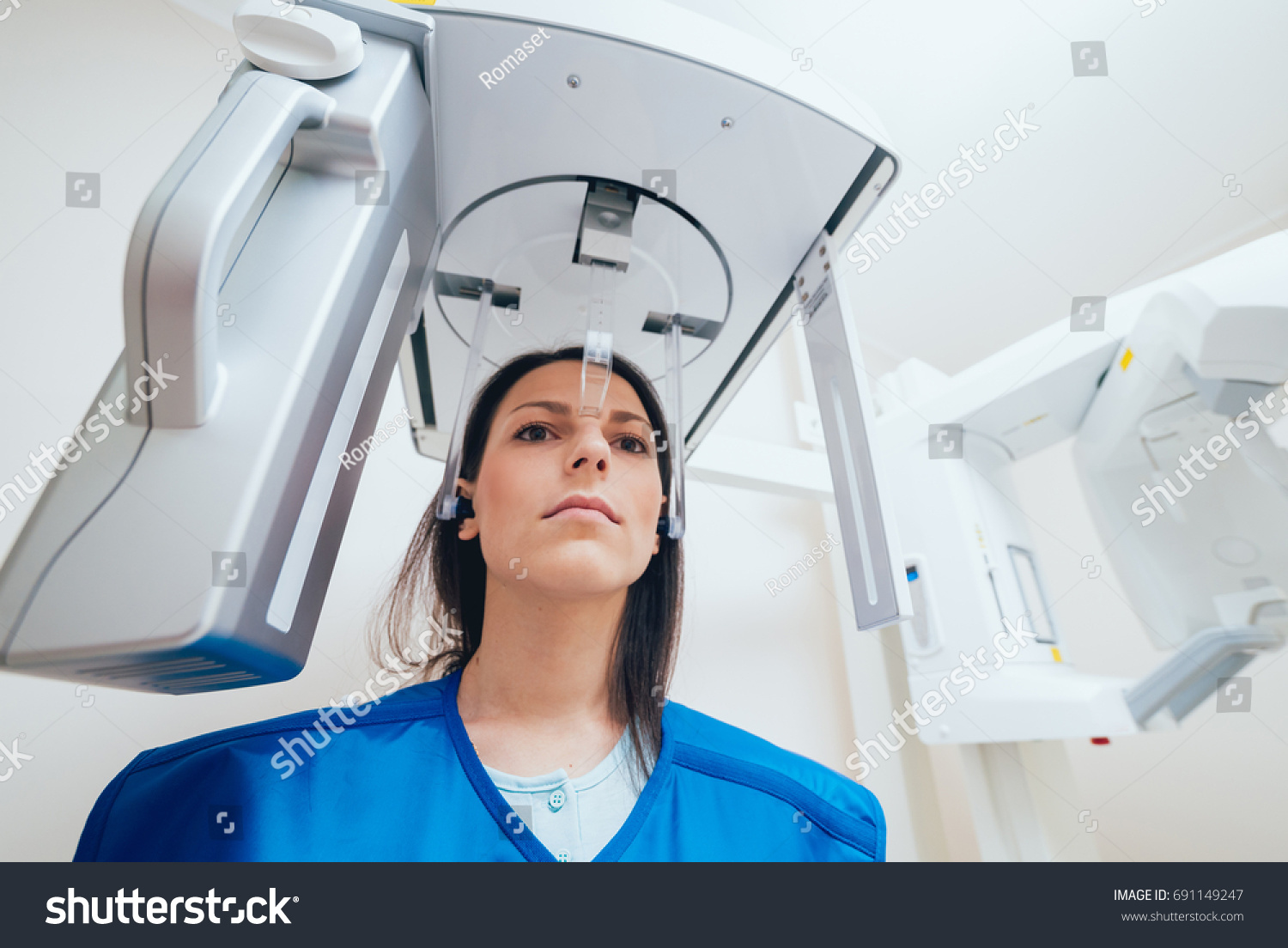 Young Woman Patient Standing Xray Machine Stock Photo Edit