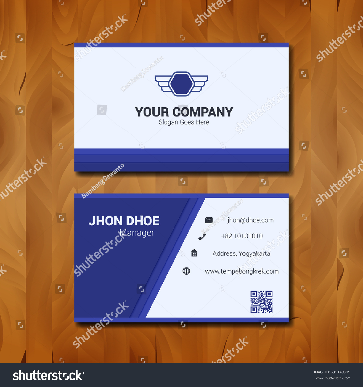 Simple business card template design company stock vector 691149919 simple business card template design with company logo on wood background accmission Choice Image