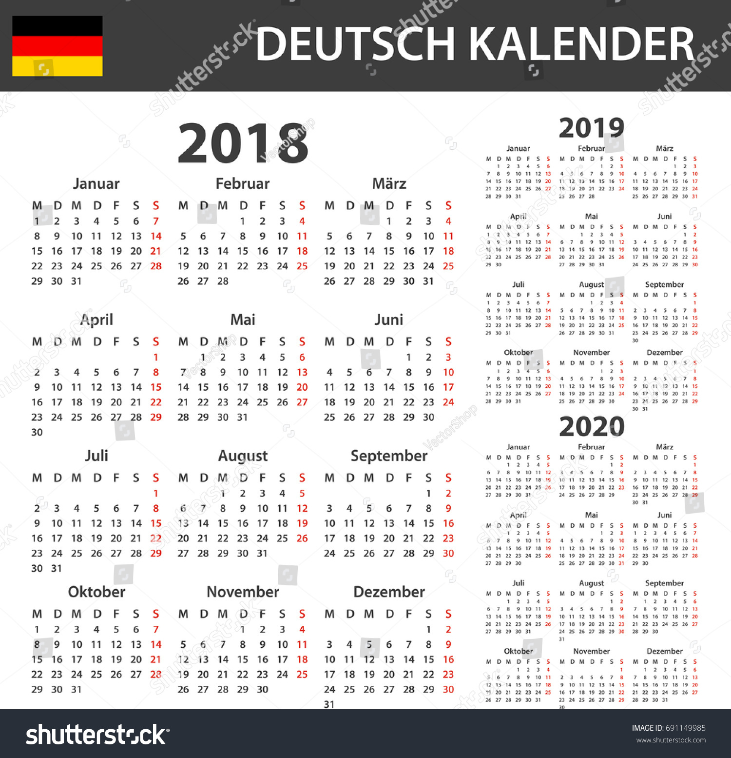 german calendar 2018 2019 2020 scheduler stock vector