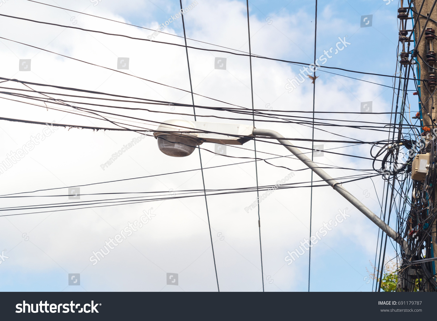 Tangled Electrical Wire On Electricity Post Stock Photo (Safe to Use ...