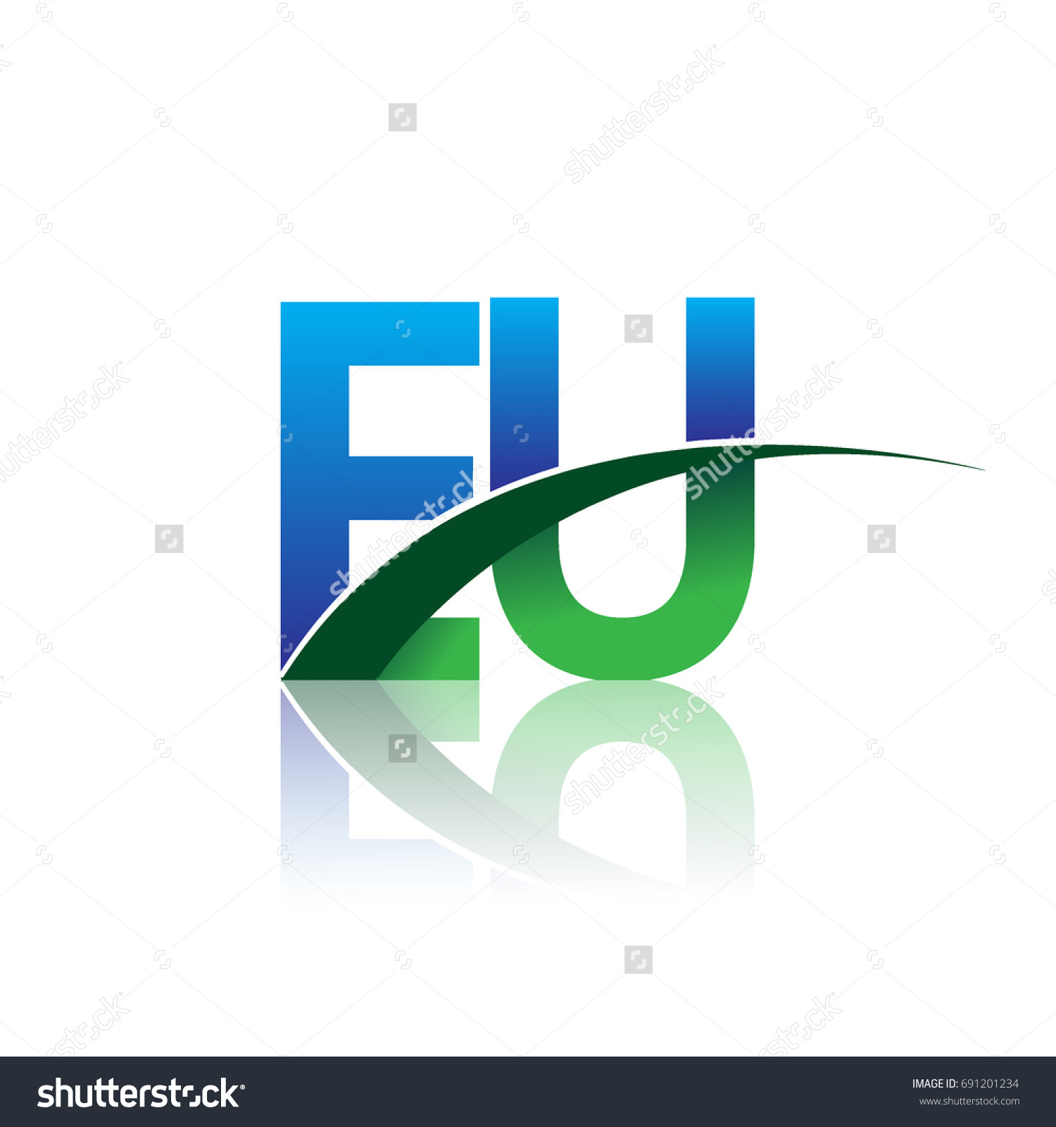 Initial letter eu logotype company name stock vector 691201234 initial letter eu logotype company name colored blue and green swoosh design vector logo for buycottarizona