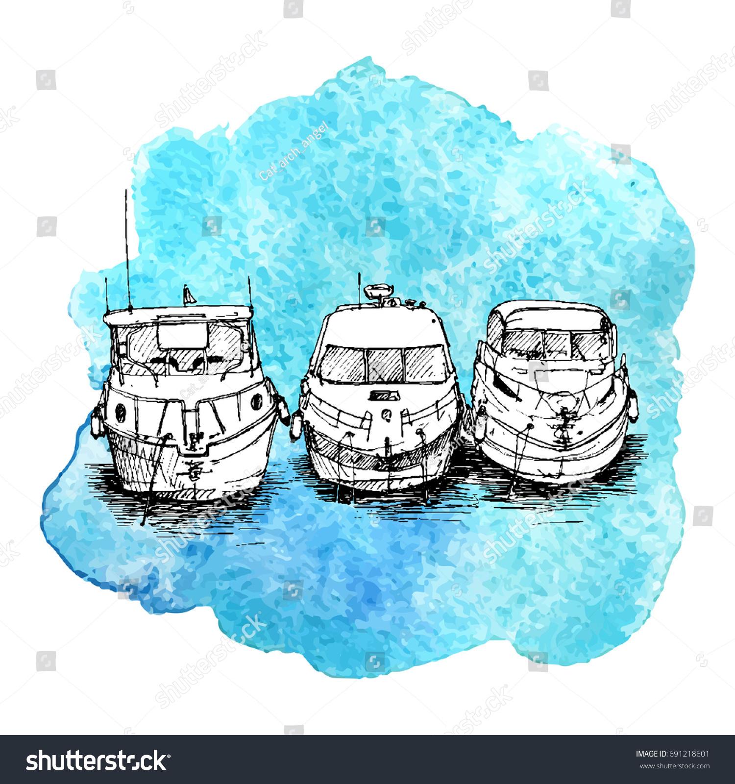 vector sketch boats blue watercolor background stock vector