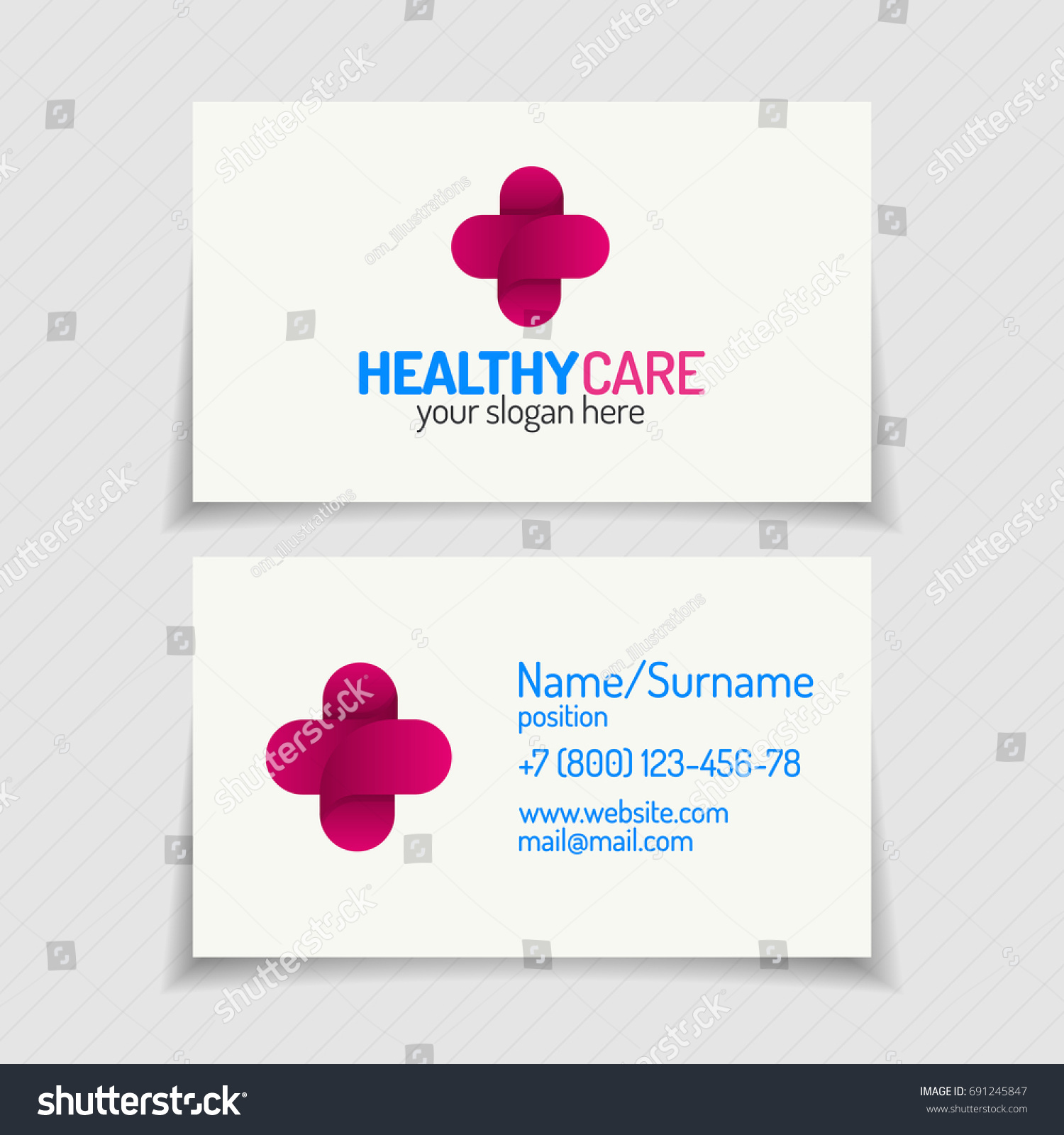 Business card cross logo color modern stock illustration 691245847 business card with cross logo color modern style for use medical company family medicine practice magicingreecefo Images