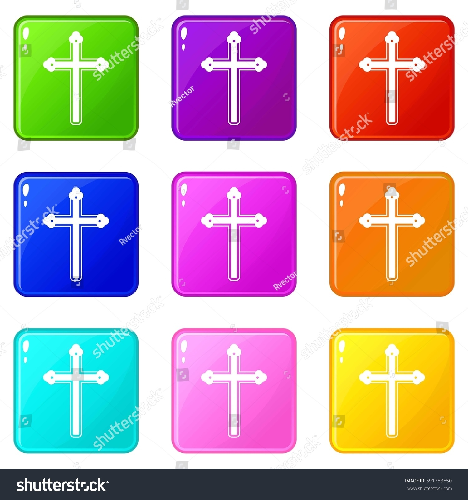 Holy Cross Icons 9 Color Set Stock Illustration 691253650 - Shutterstock