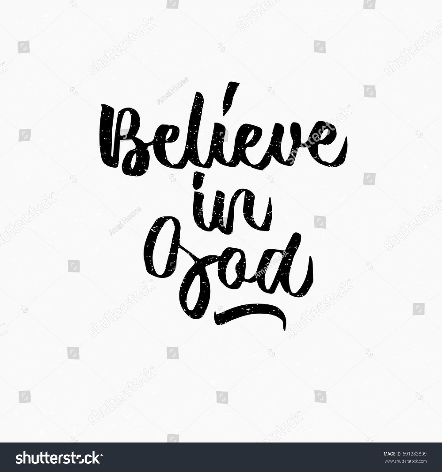 vector de stock libre de regalias sobre believe god quote ink