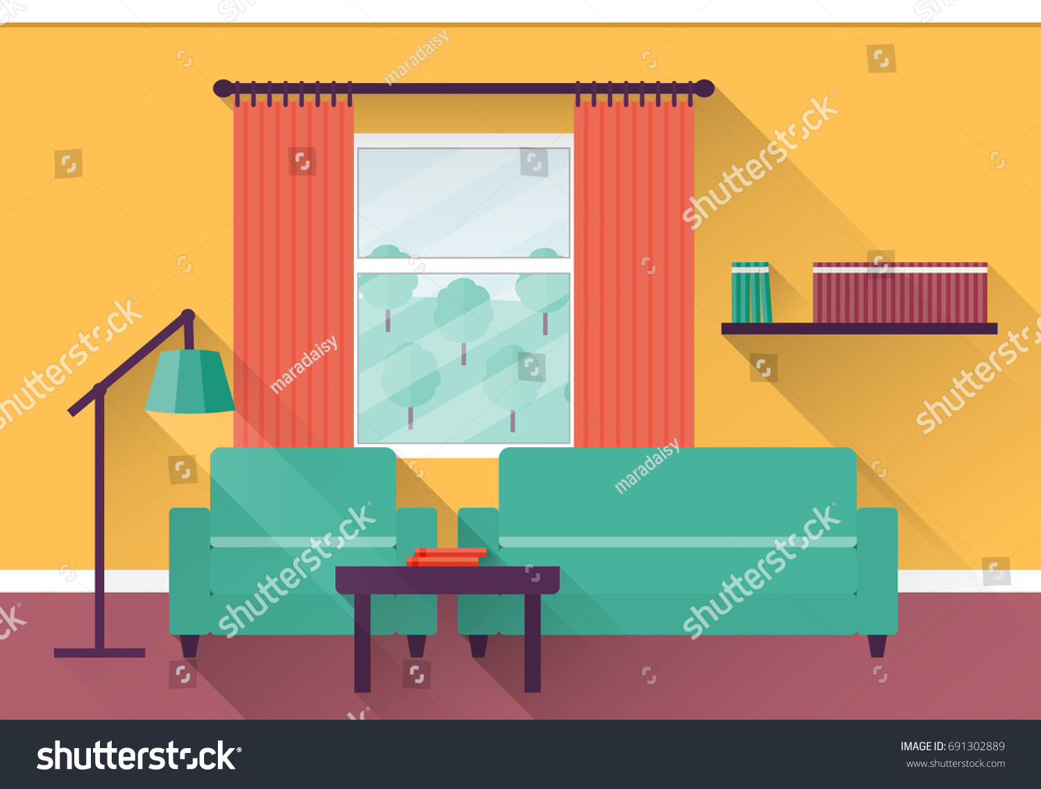 Colorful Living Room interior colorful living room window illustration stock