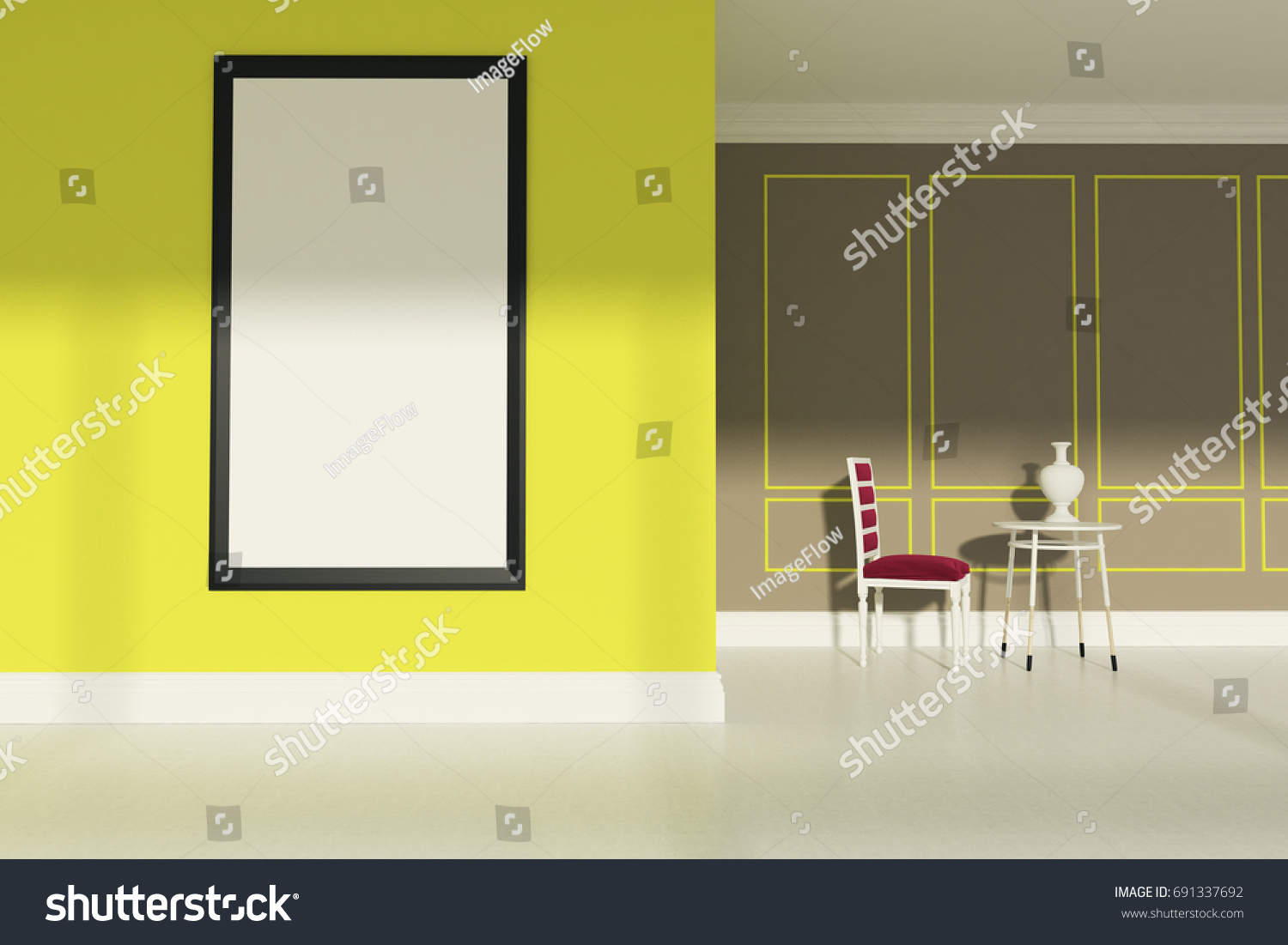 Living Room Beige Yellow Walls White Stock Illustration 691337692 ...