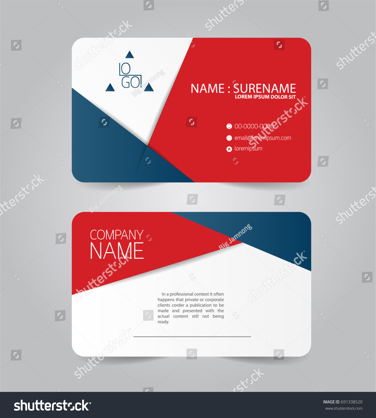 Modern Red Blue Business Name Card Stock Vector HD (Royalty Free ...
