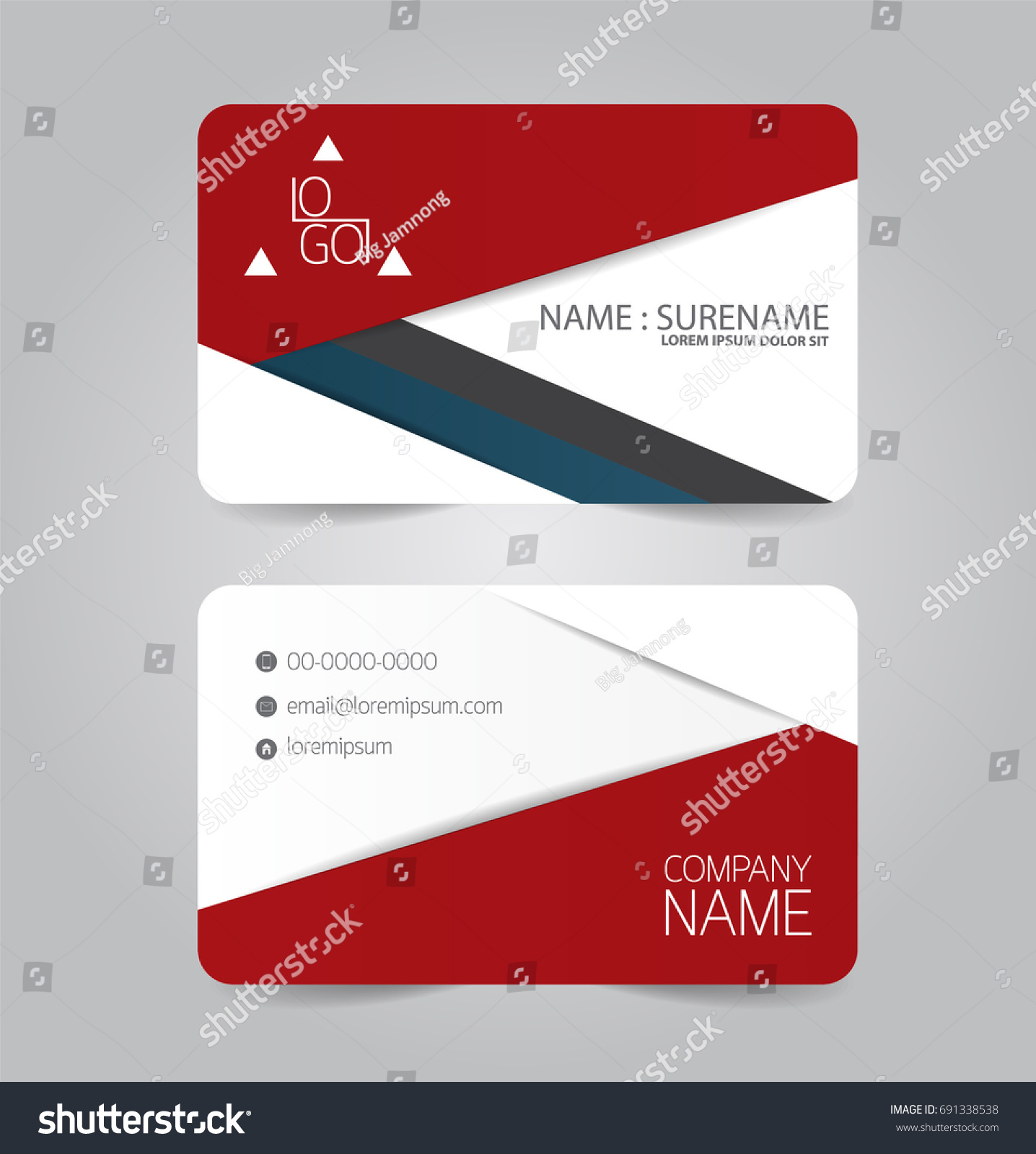 Modern Red Blue Business Name Card Stock Vector 691338538 - Shutterstock