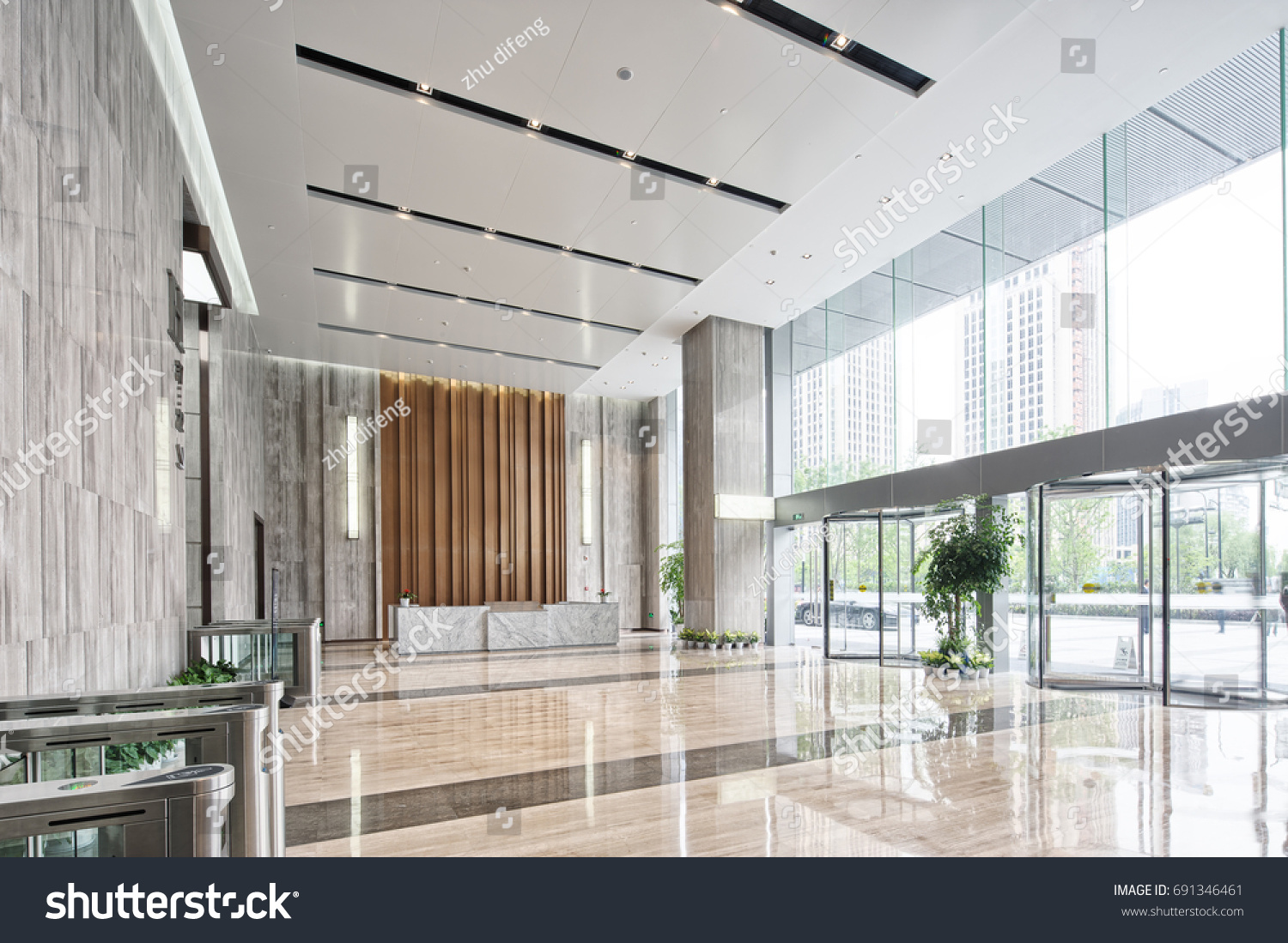 Wonderful Interior Of Modern Entrance Hall In Modern Office Building