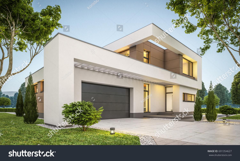 Doppelgarage modern  3d Rendering Modern Cozy House Garage Stock Illustration 691354627 ...