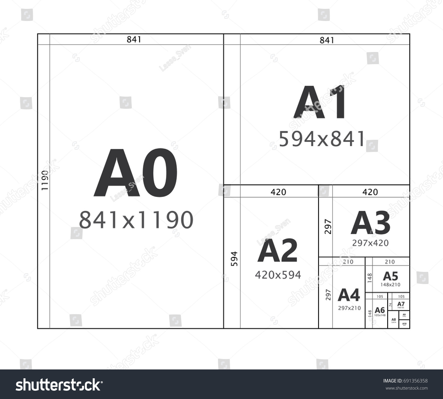 paper size format series a a0 stock vector 691356358 shutterstock. Black Bedroom Furniture Sets. Home Design Ideas