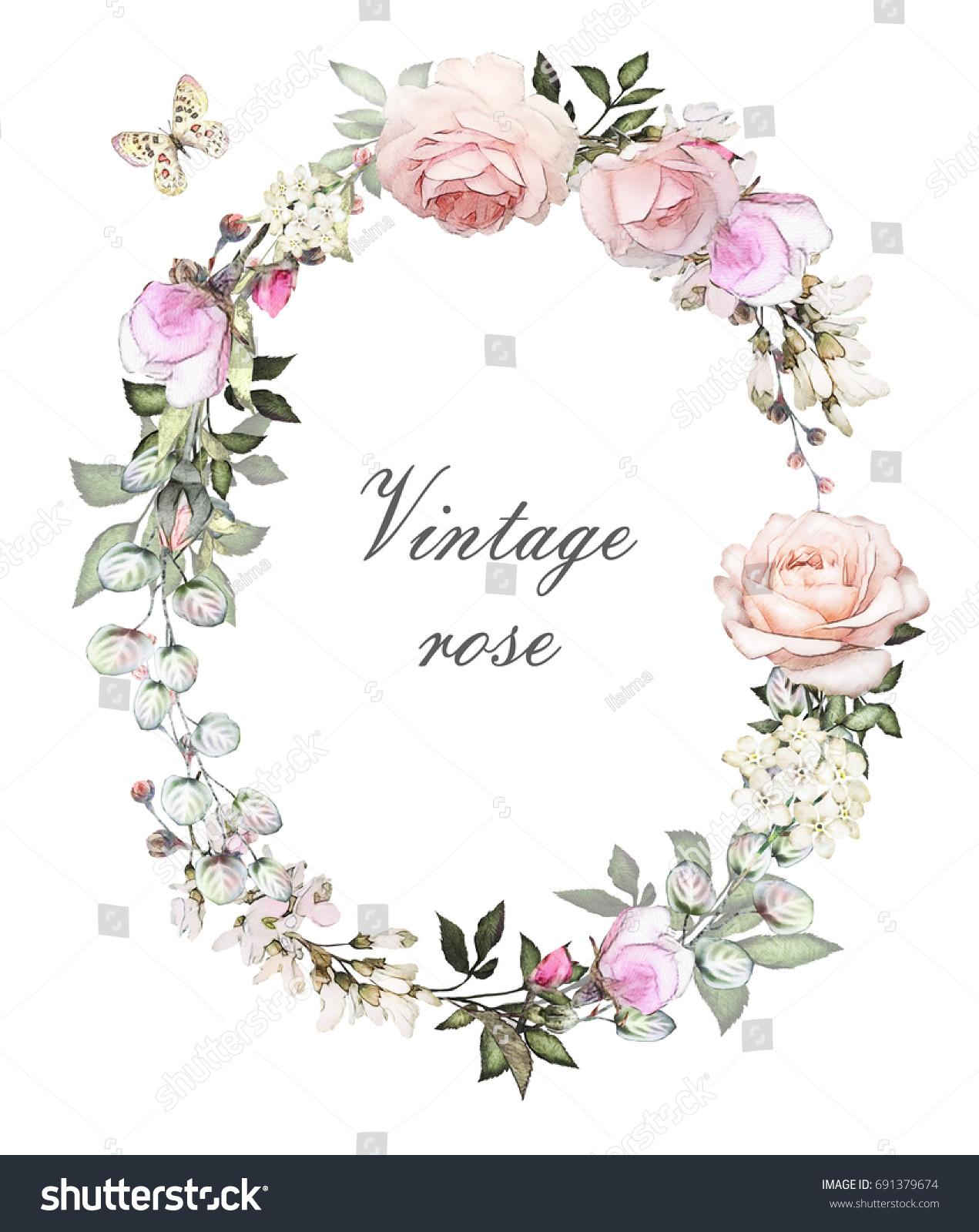 Vintage Card Watercolor Wedding Invitation Design Stock Illustration